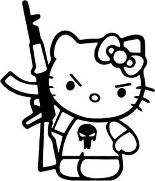 Gangster Hello Kitty Coloring Pages : Gangster hello kitty drawings sketch coloring page