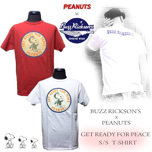 PORTA AND GATE/ポルタアンドゲートバズリックソンズ【BAZZRICKSONS 】PEANUTS SNOOPY /GET READY FOR PEACE S/S T-SHIRTS (ピーナッツフスヌーピー半袖Tシャツ)1