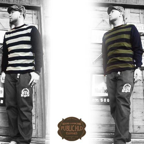 ポルタアンドゲートPORTAANDGATEパブリックホリデー【PUBLIC.HLD】HEAVY WEIGHT BORDER 1POCKET CREW NECK L/S T-SHIRT(ヘビーウェイトボーダーポケットクルーネック長袖Tシャツ)13