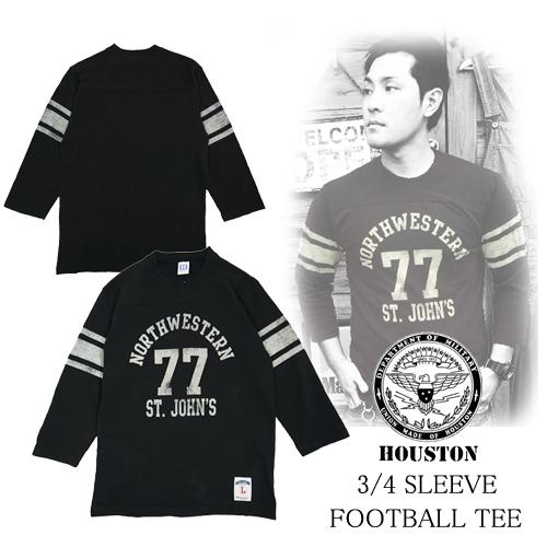 ヒューストン【HOUSTON】3/4 SLEEVE <br /> FOOTBALL T-SHIRTS(7分袖<br /> フットボールTシャツ)擦れ加工プリントポルタアンドゲートPORTAANDGATE