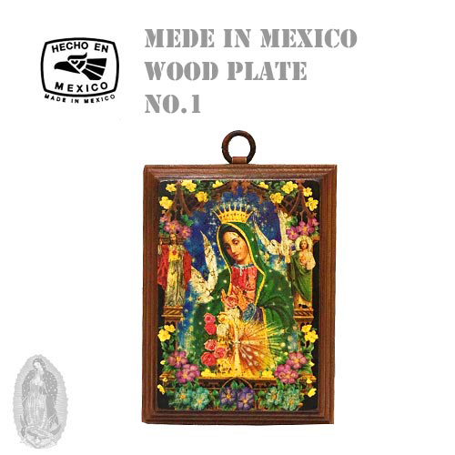 MADE IN MEXICO MARIA WOOD PLATE CROSS(十字架/クロス/メキシコ製/マリア/ウッドプレート/額/絵画//グアダルーペ聖母)02