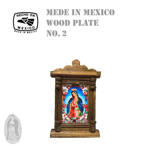 MADE IN MEXICO MARIA WOOD PLATE CROSS(十字架/クロス/メキシコ製/マリア/ウッドプレート/額/絵画//グアダルーペ聖母)03