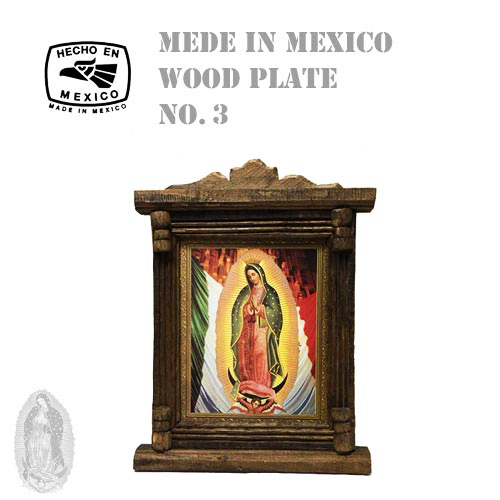 MADE IN MEXICO MARIA WOOD PLATE CROSS(十字架/クロス/メキシコ製/マリア/ウッドプレート/額/絵画//グアダルーペ聖母)04