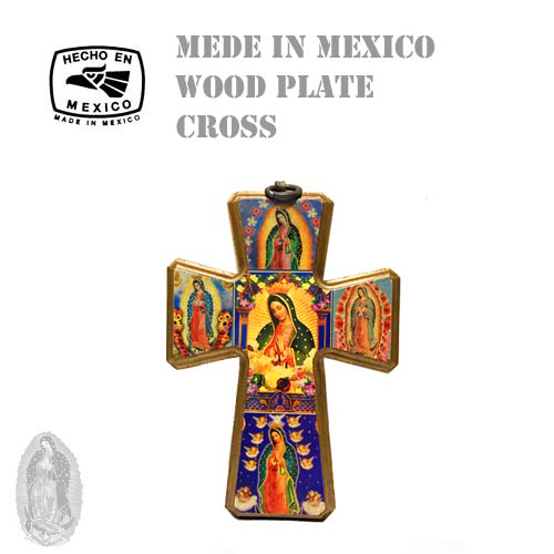 MADE IN MEXICO MARIA WOOD PLATE CROSS(十字架/クロス/メキシコ製/マリア/ウッドプレート/額/絵画//グアダルーペ聖母)01