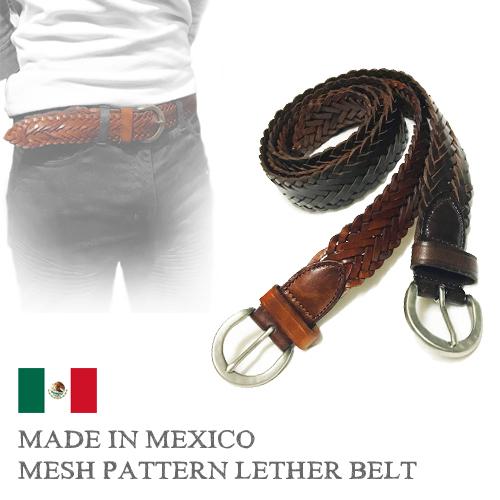 ポルタアンドゲートPORTAANDGATEMADE IN MEXICO MESH PATTERN LEATHER BELT(メッシュパターン/網目模様/バックル/レザーベルト/インポート/キューバシャツ/メキシコ製/GUAYABERA/キューバシャツ)01