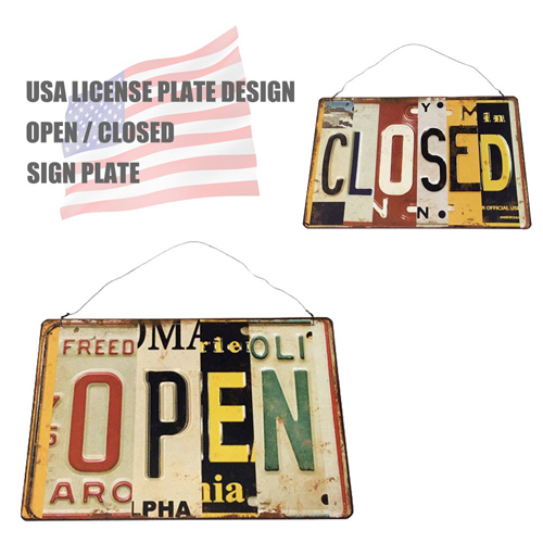 ポルタアンドゲートPORTAANDGATEUSA LICENSE PLATE DESIGN OPEN/CLOSED SIGN PLATE(アメリカナンバープレートデザインオープン/クローズ看板)02