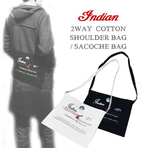 ポルタアンドゲートPORTAANDGATEインディアンモトサイクル【INDIANMOTOCYCLE 】2WAY COTTON SHOULDER BAG/SACOCHE BAG(コットンショルダーバッグ/サコッシュバッグ/クラッチバッグ)