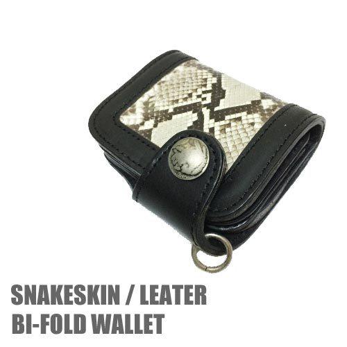 ポルタアンドゲートPORTAANDGATESNAKESKIN / LEATHER BI-FOLD WALLET BLACK(ベび革/牛皮仕様ウォレット/二つ折り財布/黒)送料無料