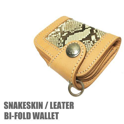 SNAKESKIN / LEATHER BI-FOLD WALLET BEIGE(ベび革/牛皮仕様ウォレット/二つ折り財布/ベージュ)送料無料ポルタアンドゲートPORTAANDGATE