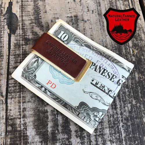 NATURAL TANNED LEATHER BRASS MONEY CLIP(栃木ナチュラルテンドレザー/牛皮真鍮マネークリップ/ブラス/日本製)04