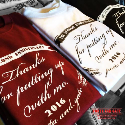 ポルタアンドゲート【PORTA AND GATE 】2ND ANNIVERSARY T-SHIRTS(1周年記念Tシャツ)