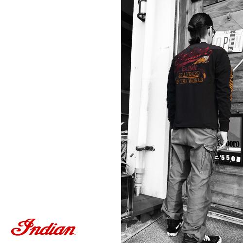 ポルタアンドゲートPORTAANDGATEインディアンモトサイクル【INDIAN MOTOCYCLE 】BIGHEAD EMBROIDERY LONG SLEEVE T-SHIRT(ビッグヘッドデザイン長袖Tシャツ/オルテガ)送料無料08