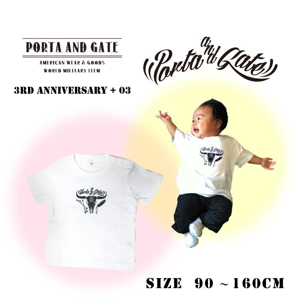 ポルタアンドゲート【PORTA AND GATE 】3RD ANNIVERSARY KID'S S/ST-SHIRTS(3周年記念子供用/赤ちゃん/キッズTシャツ)01