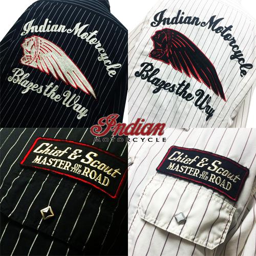 インディアンモーターサイクル【INDIANMOTORCYCLE 】BIG INDIANHEAD EMBROIDERY L/S SHIRT(ビッグインディアンヘッド刺繍長袖シャツ)送料無料ポルタアンドゲートPORTAANDGATE