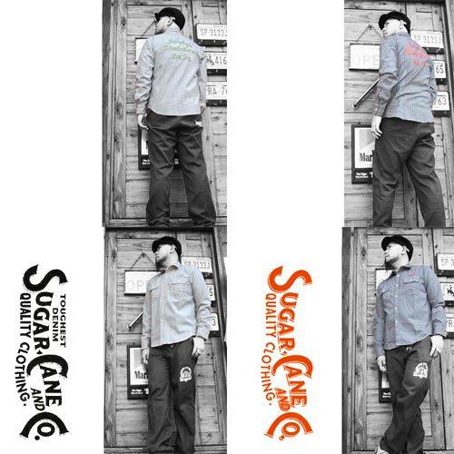 ポルタアンドゲートPORTAANDGATEシュガーケン【SUGER CANE】HICKORY STRIPE EMBROIDERY WORK S/S SHIRTS(ヒッコリーストライプ刺繍ワーク半袖シャツ)送料無料4