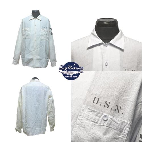 ポルタアンドゲートPORTAANDGATEバズリクソンズ【BUZZRICKSONS】USNAVY WHITE SHAMBRAY STENCIL WORK L/S SHIRT(ホワイトシャンブレーステンシル長袖ワークシャツ/日本製)全国送料無料02