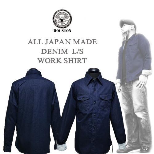 ポルタアンドゲートPORTAANDGATEヒューストン/HOUSTON/ALL JAPAN MADE DENIM L/S WORK SHIRT(オールジャパンメイドデニムワークシャツ/インディゴ/日本製)送料無料01