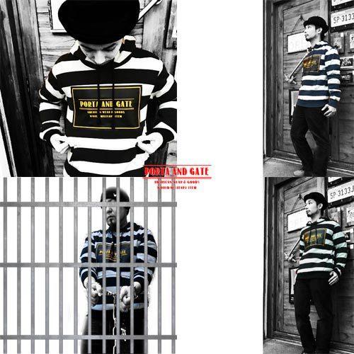 囚人、刑務所、春物、2017年、ポルタアンドゲート【PORTA AND GATE】PRISONER BORDER PULL OVER PARKA(プリズナーボーダープルオーバーパーカー/囚人)04