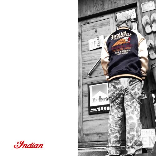 ポルタアンドゲートPORTAANDGATEインディアンモトサイクル【INDIANMOTOCYCLE 】RAYONSATIN REVERSIBLE SUKA JACKET/SUKAJAN(スカジャン/ベトジャン/オルテガ/ネイティブ)送料無料06