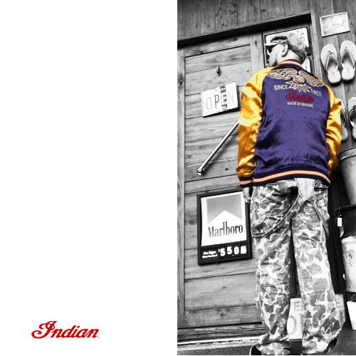 ポルタアンドゲートPORTAANDGATEインディアンモトサイクル【INDIANMOTOCYCLE 】RAYONSATIN REVERSIBLE SUKA JACKET/SUKAJAN(スカジャン/ベトジャン/オルテガ/ネイティブ)送料無料08