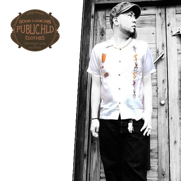 パブリックホリデー【PUBLIC.HLD】OPEN COLLAR S/S EMBROIDERY SHIRT(リネンオープンカラー刺繍半袖シャツ/ワークシャツ)送料無料ポルタアンドゲートPORTAANDGATE