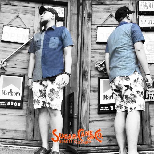 ポルタアンドゲートPORTAANDGATEシュガーケン【SUGER CANE】INDIFO CRAZY PATTERN WORK S/S SHIRT(インディゴクレイジーパターン半袖ワークシャツ)送料無料04