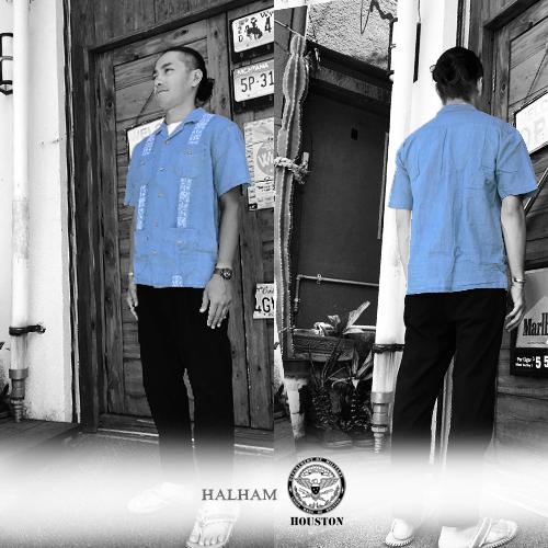 ポルタアンドゲートPORTAANDGATEINDIGO CHAMBRAY CUBA SHIRT/OPEN COLLEAR /CUAYABERA(インディゴシャンブレーキューバ半袖シャツ/グァジャベーラ )04