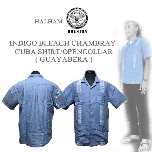 ポルタアンドゲートPORTAANDGATEINDIGO BLEACH CHAMBRAY CUBA SHIRT/OPEN COLLEAR /CUAYABERA(インディゴシャンブレーキューバ半袖シャツ/グァジャベーラ )01