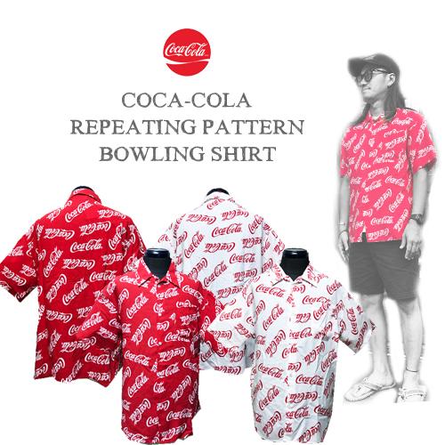 ポルタアンドゲートPORTAANDGATEコカコーラ【COCA-COLA】REPEATING PATTERN BOWLING SHIRT(ロゴ総柄ボーリング半袖シャツ)01
