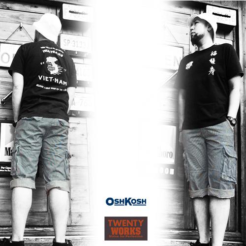 オシュコシュ【OSHKOSH】トゥエンティーワークス 【TWENTY WORKS】HICKORY STRIPE 3/4 SHOTR PANTS(ヒッコリーストライプ7分丈ショートパンツ/ショーツ)ポルタアンドゲートPORTAANDGATE3