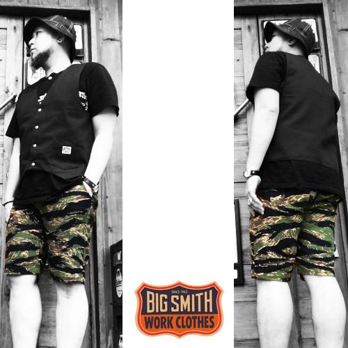 ポルタアンドゲートPORTAANDGATEビッグスミス【BIG SMITH】TIGER STRIPE CAMO PRIPELA SHOTR PANTS(タイガーストライプ迷彩プリペラショートパンツ/ショーツ/日本製/MADEINJAPAN)04