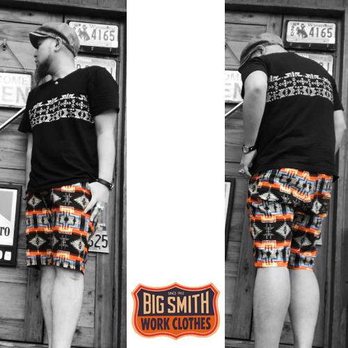 ポルタアンドゲートPORTAANDGATEビッグスミス【BIG SMITH】NATIVE PATTEN/ORTEGA PRIPELA SHORT PANTS(ネイティブ/オルテガ柄プリペラショートパンツ/日本製/MADEINJAPAN)04