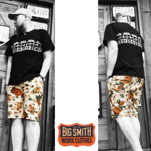 ポルタアンドゲートPORTAANDGATEビッグスミス【BIG SMITH】 ALOHA PATTERN  PRIPELA SHORT PANT(アロハ柄プリペラショートパンツ/日本製/MADEINJAPAN/ホワイト)04
