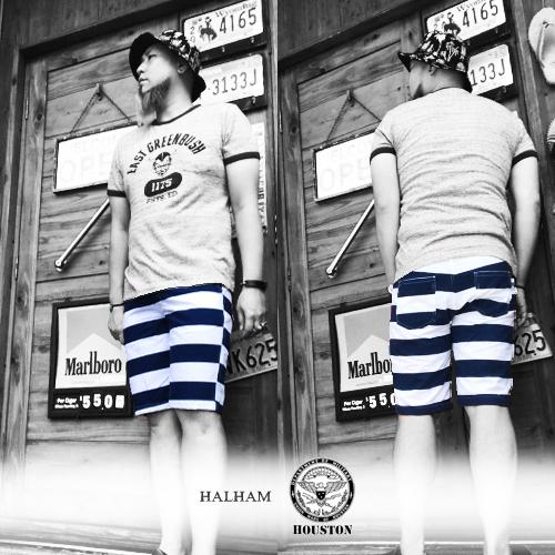 ポルタアンドゲートPORTAANDGATEハルハム【HALHAM】ヒューストン【HOUSTON】RECYCLR YARN BORDER PATTERN SHOTR PANTS(ボーダー柄ショートパンツ/ショーツ/リサイクル)04