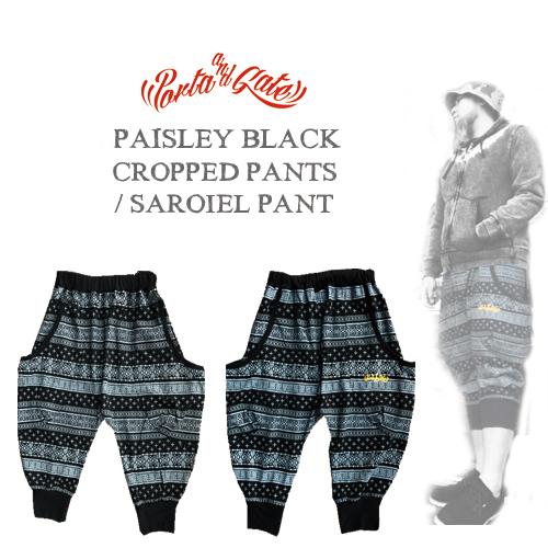 ポルタアンドゲート【PORTAANDGATE 】PAISLEY BLACK CROPPED PANTS/SAROIEL PANTS(迷彩クロップドパンツ/サムエルパンツ)、迷彩柄、ウッドランド迷彩、WOODLAND、CAMOUFLAGE、戦闘服01