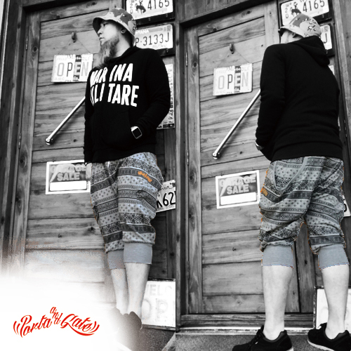 ポルタアンドゲート【PORTAANDGATE 】PAISLEY BLACK CROPPED PANTS/SAROIEL PANTS(迷彩クロップドパンツ/サムエルパンツ)、迷彩柄、ウッドランド迷彩、WOODLAND、CAMOUFLAGE、戦闘服、ブラック、 グレー、04