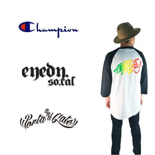 ポルタアンドゲート【EYEDY】×【CHAMPION】限定7分袖Tシャツ01