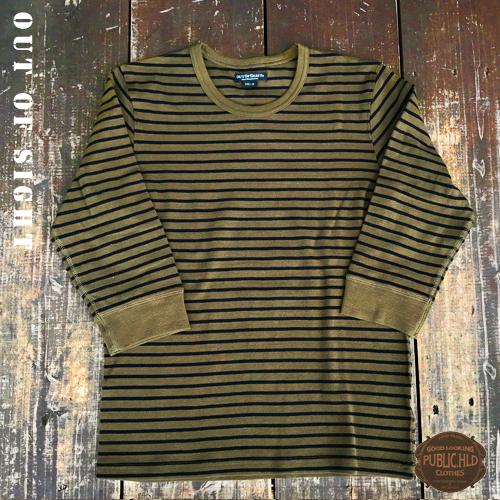 アウトオブサイト【OUTOFSIGHT】パブリックホリデー【PUBLIC.HLD】SPAN FRAISE 3/4 SLEEVE T-SHIRTS(スパンフライス生地7分袖Tシャツ)3色03