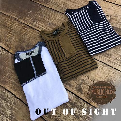 アウトオブサイト【OUTOFSIGHT】パブリックホリデー【PUBLIC.HLD】SPAN FRAISE 3/4 SLEEVE T-SHIRTS(スパンフライス生地7分袖Tシャツ)3色01