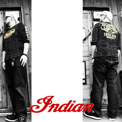 ポルタアンドゲートPORTAANDGATEインディアンモトサイクル【INDIAN MOTOCYCLE 】ARROW&LOGO THERMAL/WAFFLE 3/4T-SHIRT(アロー&ロゴサーマル/ワッフル7分袖Tシャツ)02