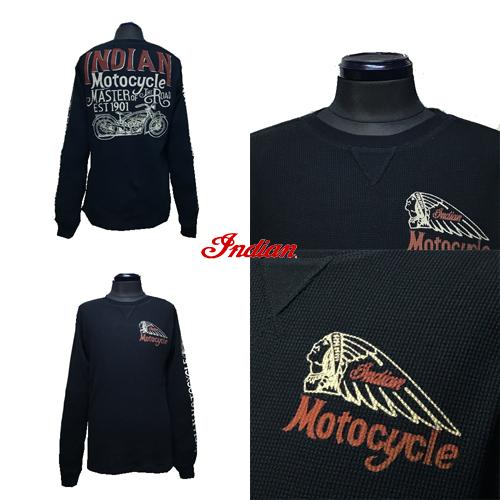 ポルタアンドゲートPORTAANDGATEインディアンモトサイクル【INDIAN MOTOCYCLE 】CHIEF THERMAL WAFFLE LONG T-SHIRT/BLK(クリフサーマル/ワッフル長袖Tシャツ/バイカー)02