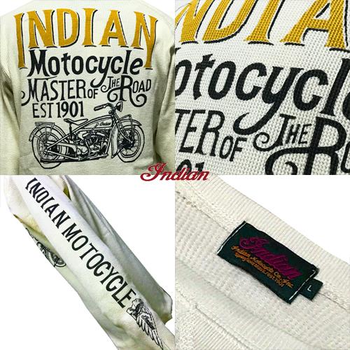 ポルタアンドゲートPORTAANDGATEインディアンモトサイクル【INDIAN MOTOCYCLE 】CHIEF THERMAL WAFFLE LONG T-SHIRT/WHT(クリフサーマル/ワッフル長袖Tシャツ/バイカー)03