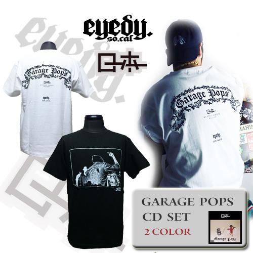 ポルタアンドゲートPORTAANDGATEアイディー 【EYEDY】【ローホー】 GARAGE POPS PRINT S/S T-SHRIT CD SET(ガレージポッププリントTシャツ ホワイト/ブラック CD付き)1
