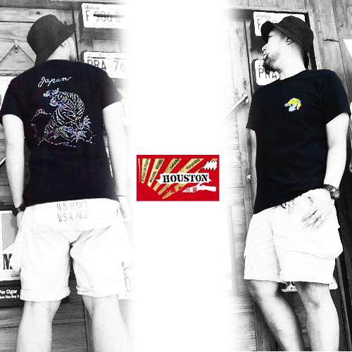 ヒューストン【HOUSTON】MILITARY EMBROIDERY SOUVENIR TIGER S/S TEE(ミリタリー刺繍スーベニア半袖Tシャツタイガー/スカTシャツ/べトT)送料無料2ポルタアンドゲートPORTAANDGATE