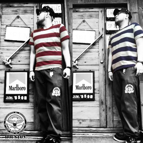 ヒューストン【HOUSTON】HEAVY OUNCE BORDER POCKET S/S T-SHIRT(ベビーオンスプリズナーボーダーポケット半袖Tシャツ/ミリタリー/囚人/)04