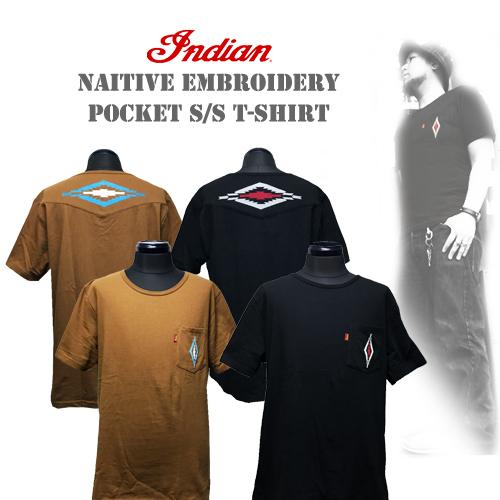 インディアンモトサイクル【INDIAN MOTOCYCLE 】NAITIVE EMBROIDERY POCKET S/S T-SHIRT(チマヨ柄/ネイティブ柄刺繍ポケットTシャツ)01