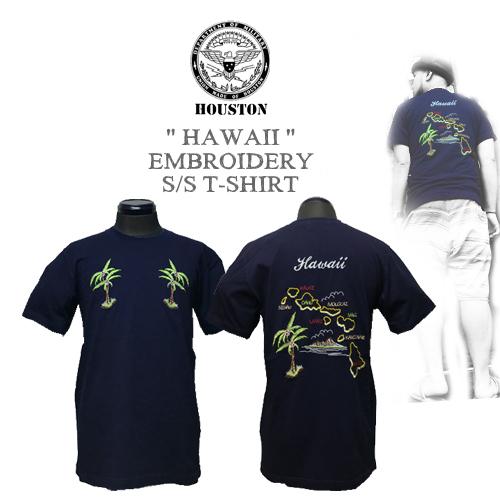 ポルタアンドゲートPORTAANDGATEヒューストン【HOUSTON】HAWAII DESIGN EMBROIDERY S/S T-SHIRT(ハワイアンデザイン刺繍半袖Tシャツ)送料無料01