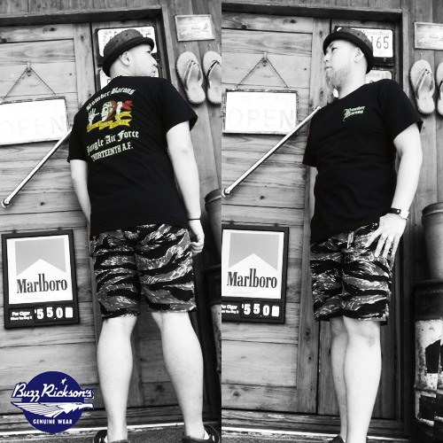 ポルタアンドゲートPORTAANDGATEバズリクソンズ【BUZZRICKSONS 】BOMBERBARONS/JUNGLEAIRFORCE PRINTS/ST-SHIRT(ボンバーバロンズジャングルエアフォース半袖Tシャツ)02
