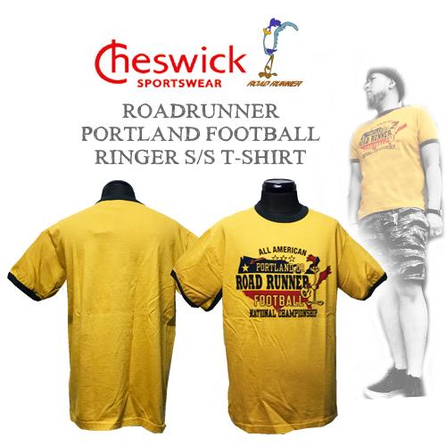 ワーナーブラザーズ、ポルタアンドゲートPORTAANDGATEチェスウィック【CHESWICK】ROADRUNNER PORTLAND FOOTBALLRINGER S/S T-SHIRT(ロードランナーリンガー半袖Tシャツ)01