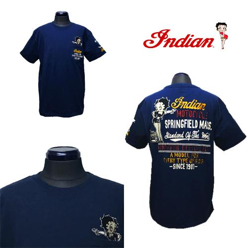 インディアンモーターサイクル【INDIAN MOTORCYCLE 】BETTYBOOP EMBROIDERY S/S T-SHIRT(ベティーブープコラボ刺繍半袖Tシャツ)送料無料02